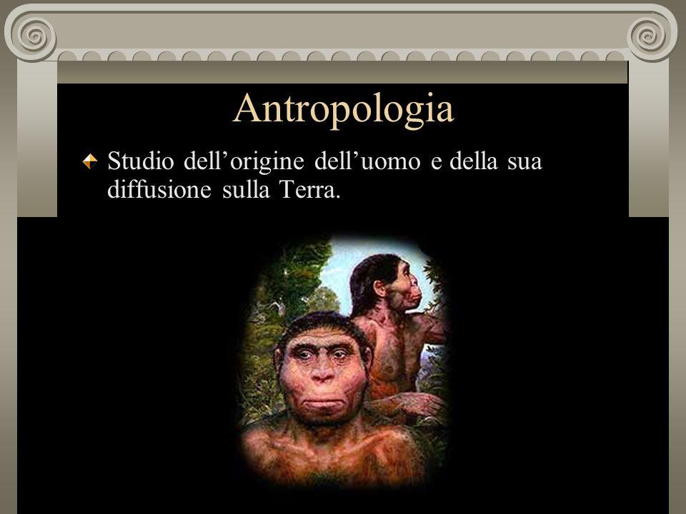 Antropologia Studio dell'origine dell'uomo e della sua diffusione sulla Terra.