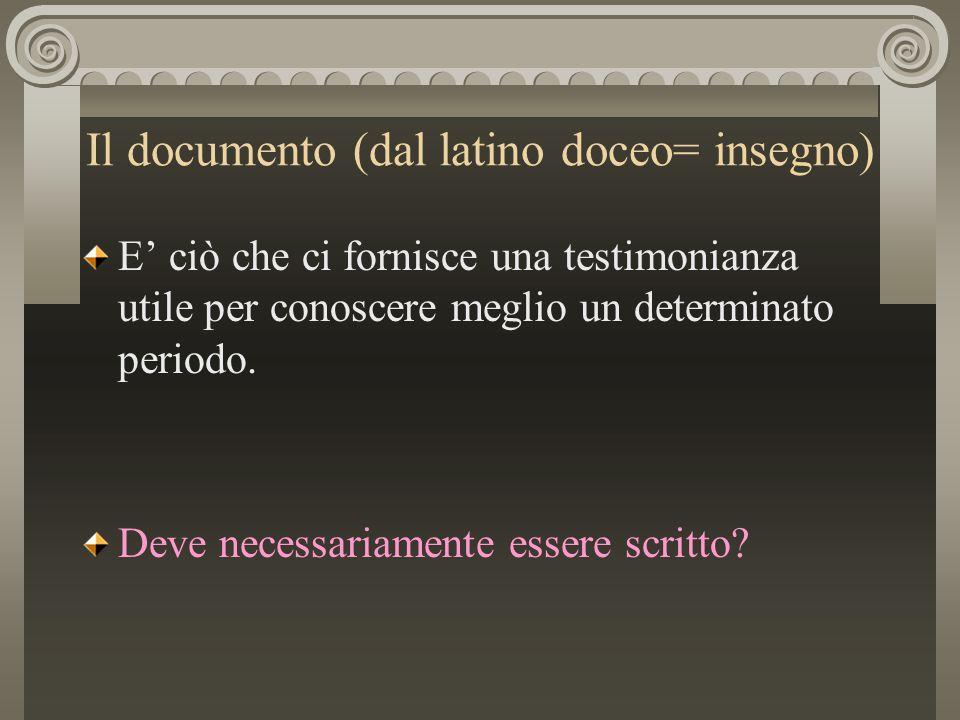 Il documento (dal latino doceo= insegno)