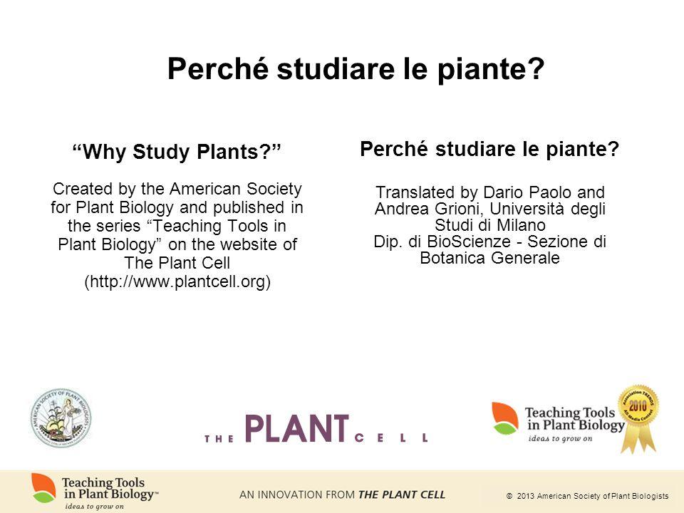 Perché studiare le piante Perché studiare le piante