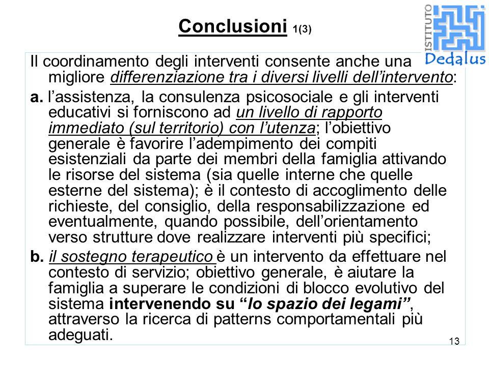 Conclusioni 1(3) Il coordinamento degli interventi consente anche una migliore differenziazione tra i diversi livelli dell'intervento: