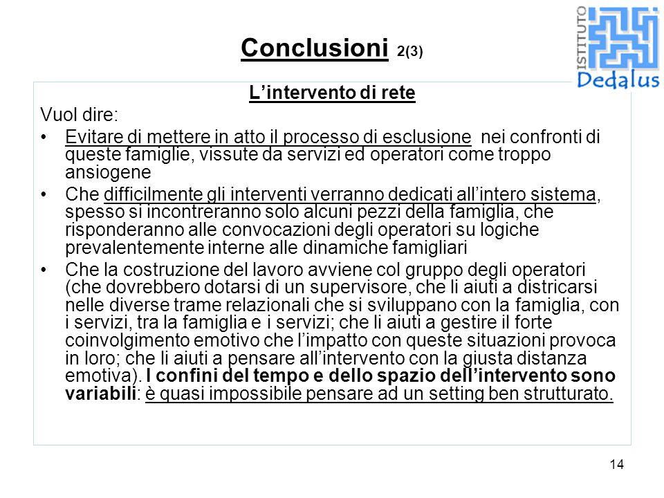 Conclusioni 2(3) L'intervento di rete Vuol dire: