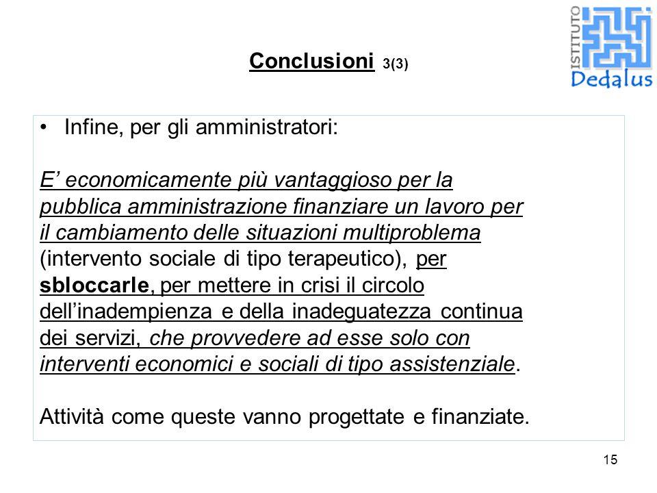 Conclusioni 3(3) Infine, per gli amministratori: E' economicamente più vantaggioso per la. pubblica amministrazione finanziare un lavoro per.