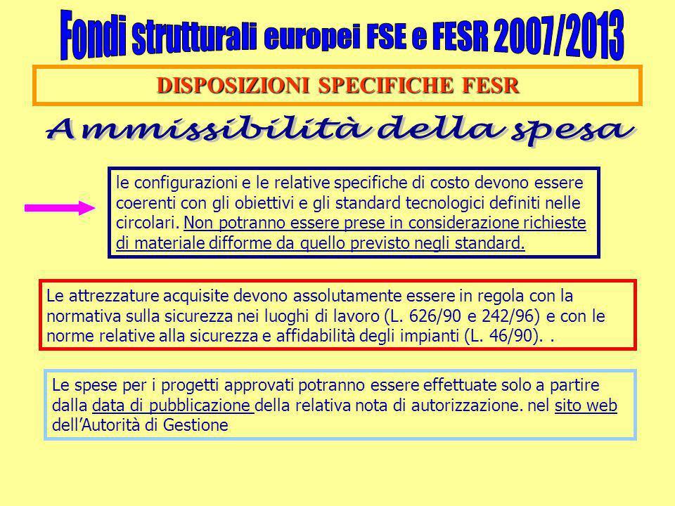 DISPOSIZIONI SPECIFICHE FESR Ammissibilità della spesa