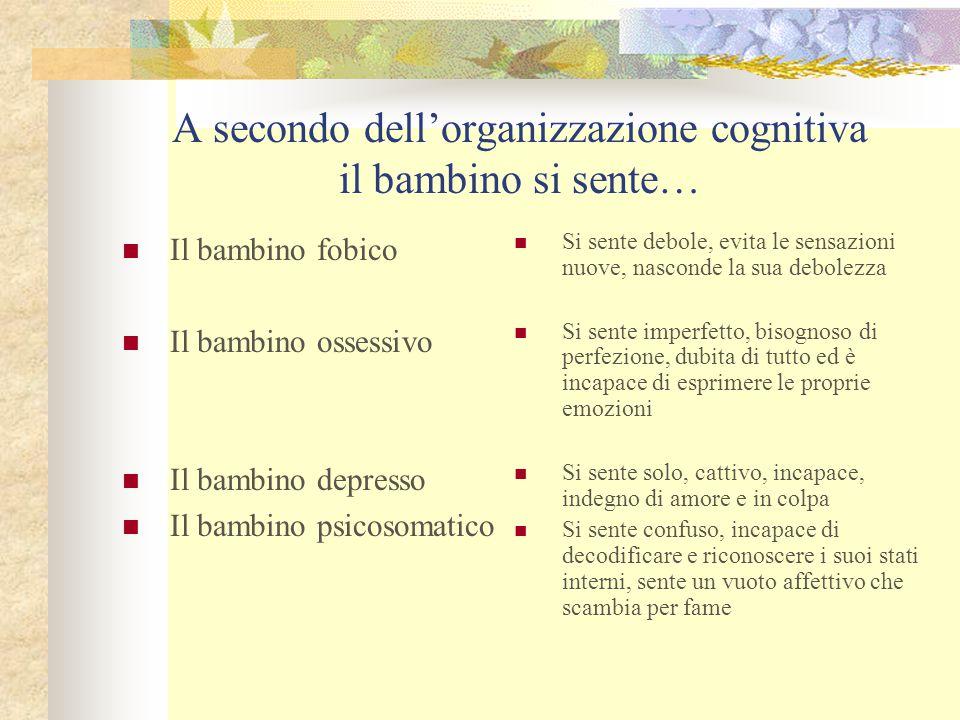 A secondo dell'organizzazione cognitiva il bambino si sente…