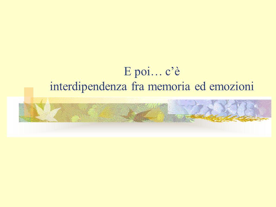 E poi… c'è interdipendenza fra memoria ed emozioni