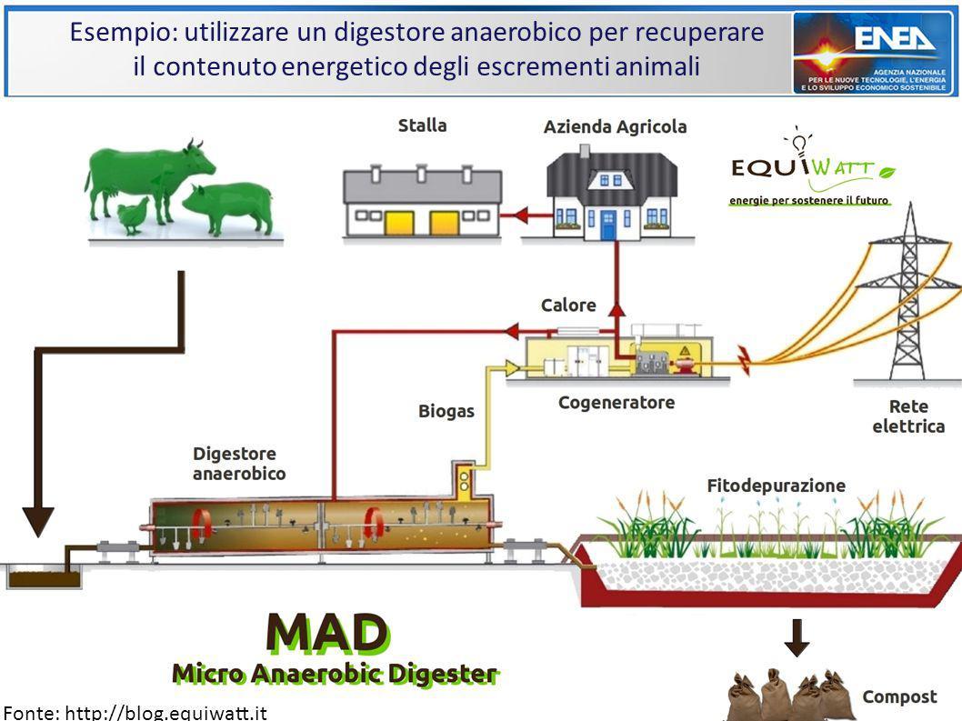 Esempio: utilizzare un digestore anaerobico per recuperare il contenuto energetico degli escrementi animali