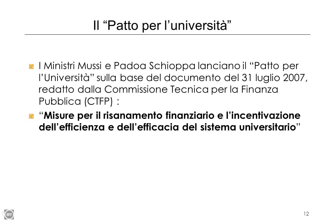 Il Patto per l'università