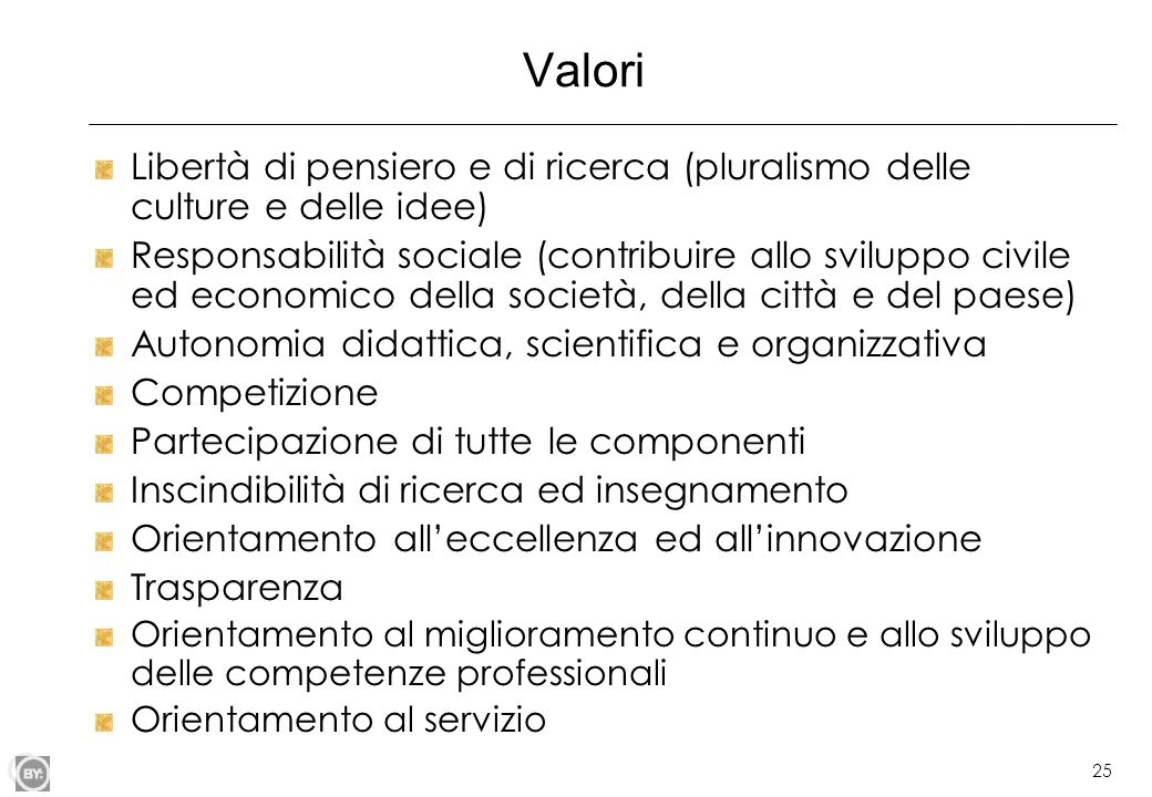 Valori Libertà di pensiero e di ricerca (pluralismo delle culture e delle idee)