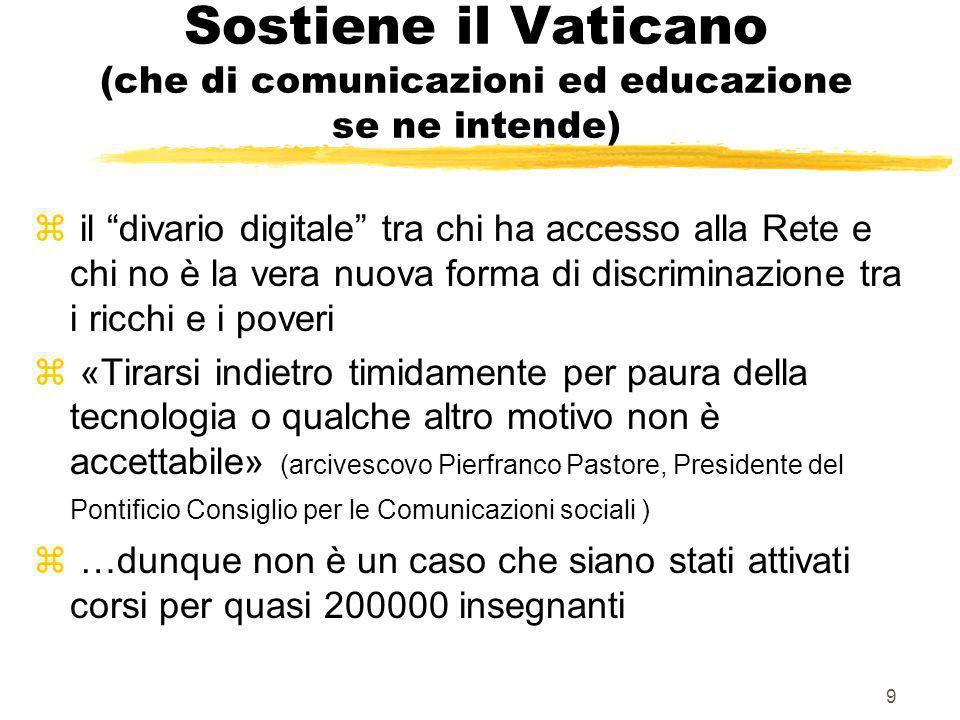 Sostiene il Vaticano (che di comunicazioni ed educazione se ne intende)