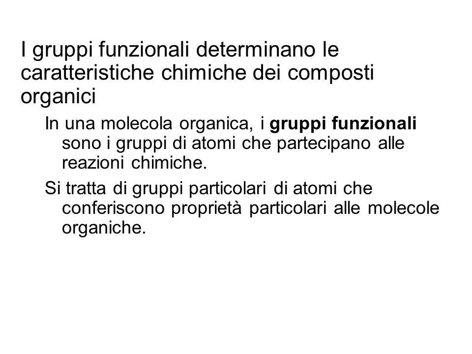 I gruppi funzionali determinano le caratteristiche chimiche dei composti organici