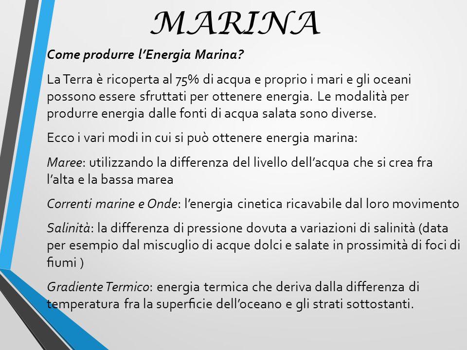 MARINA Come produrre l'Energia Marina
