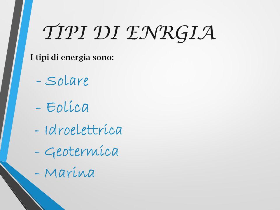 - Eolica TIPI DI ENRGIA - Idroelettrica - Geotermica - Marina - Solare