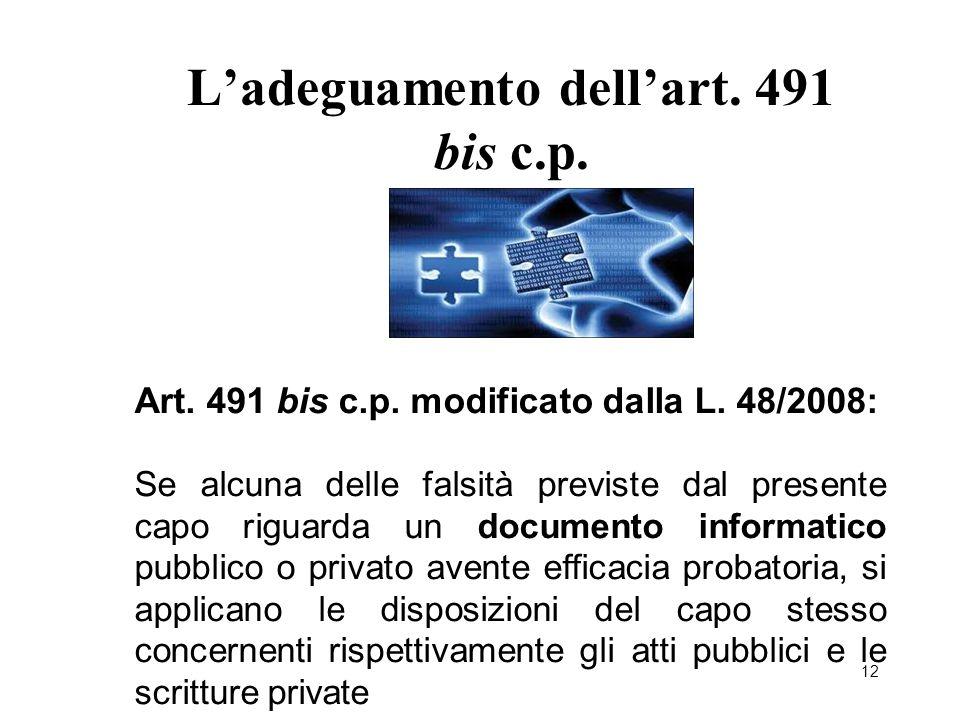 L'adeguamento dell'art. 491 bis c.p.