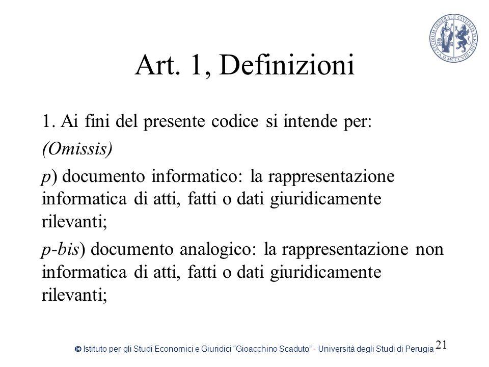 Art. 1, Definizioni