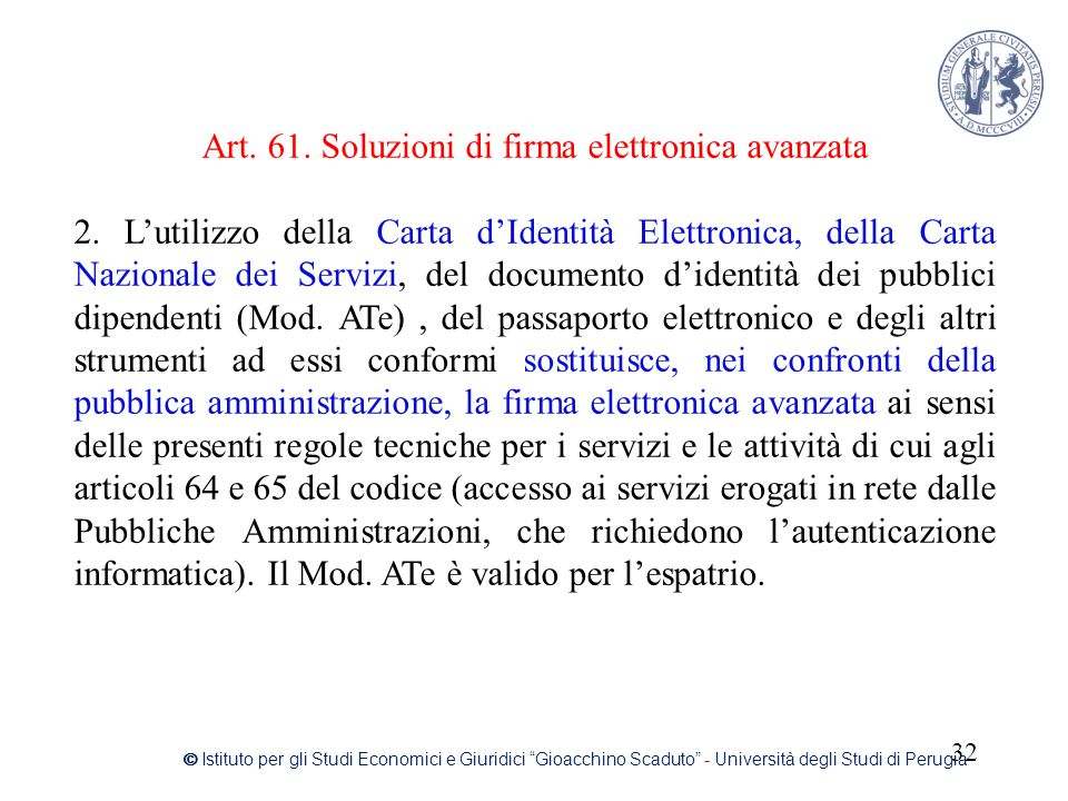 Art. 61. Soluzioni di firma elettronica avanzata