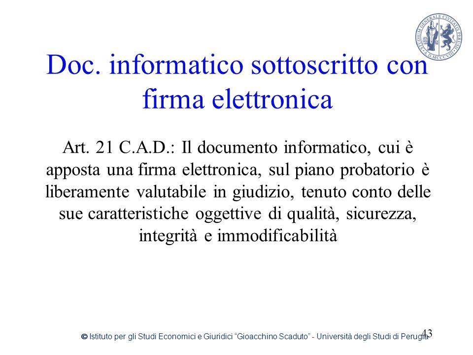 Doc. informatico sottoscritto con firma elettronica