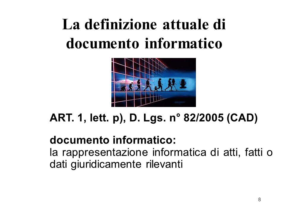 La definizione attuale di documento informatico