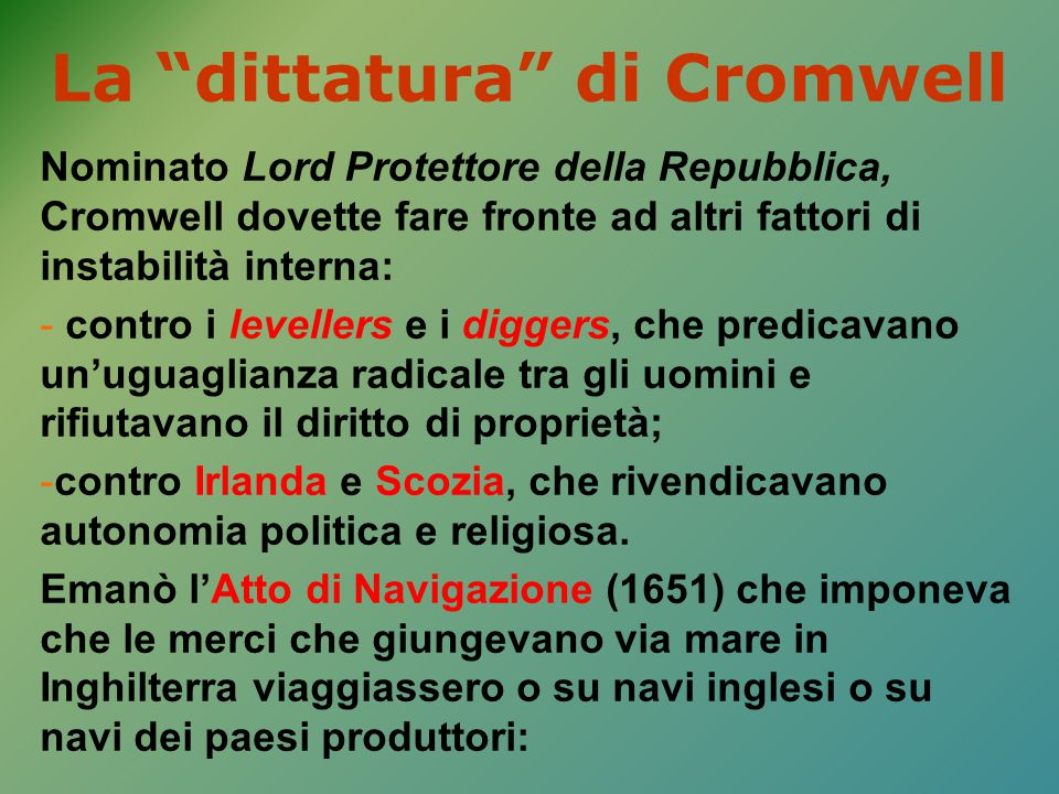 La dittatura di Cromwell