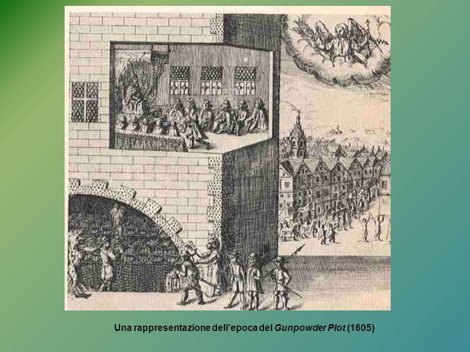 Una rappresentazione dell'epoca del Gunpowder Plot (1605)