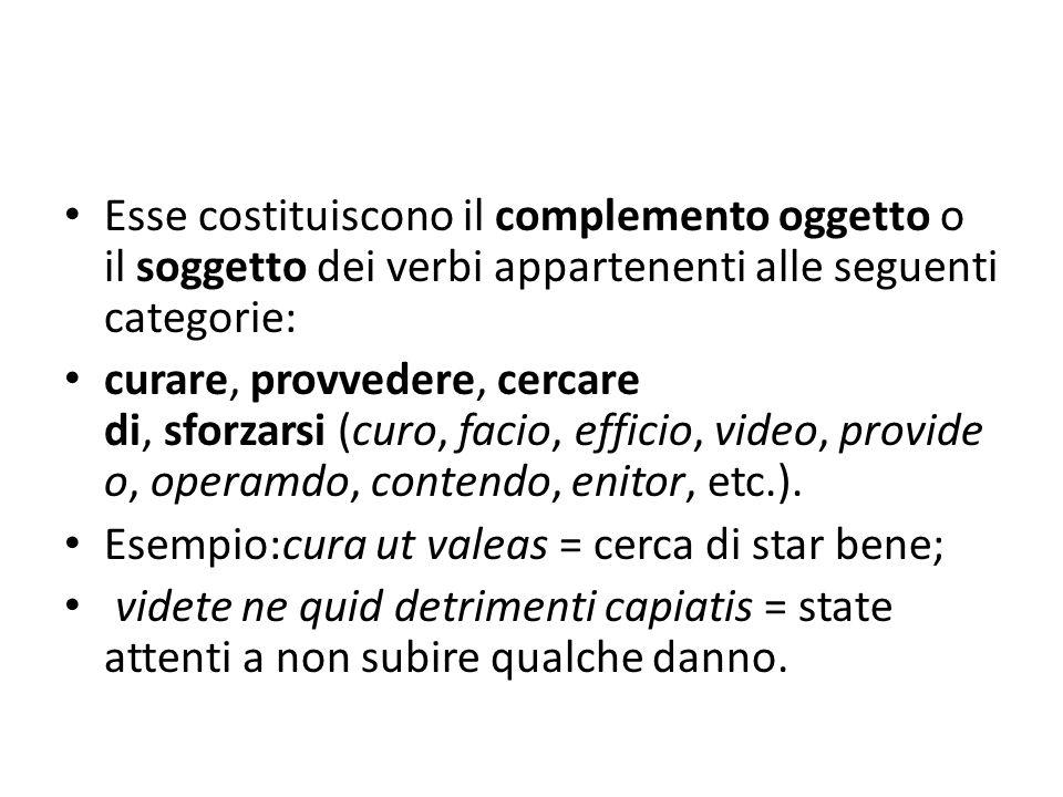 Esse costituiscono il complemento oggetto o il soggetto dei verbi appartenenti alle seguenti categorie:
