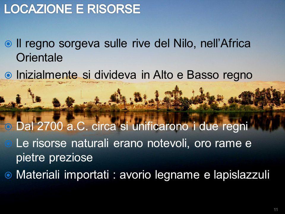 LOCAZIONE E RISORSE Il regno sorgeva sulle rive del Nilo, nell'Africa Orientale. Inizialmente si divideva in Alto e Basso regno.