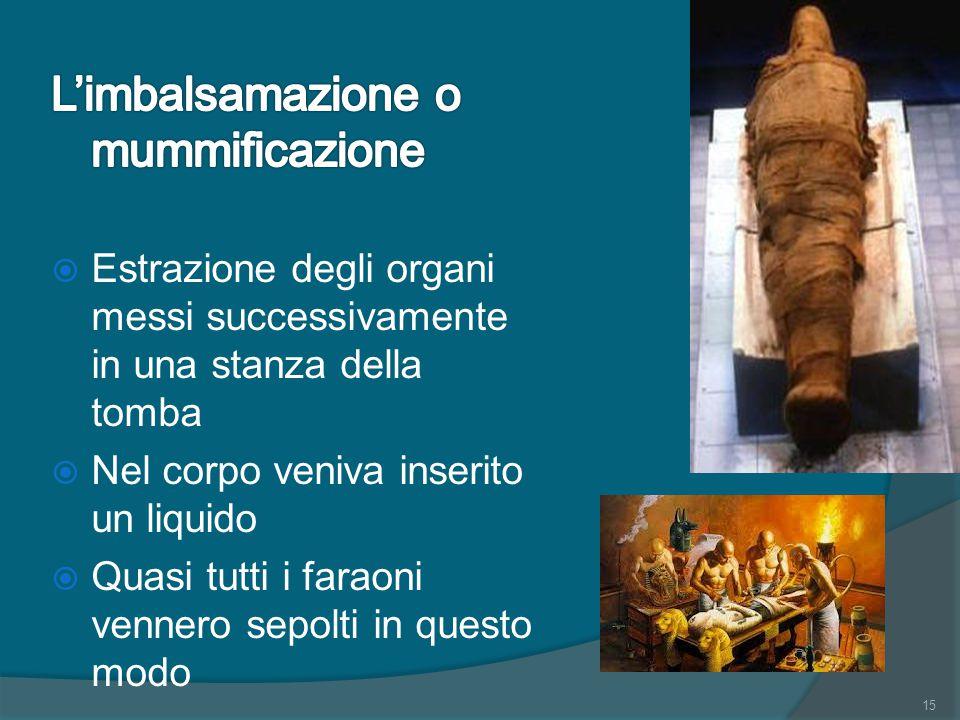 L'imbalsamazione o mummificazione