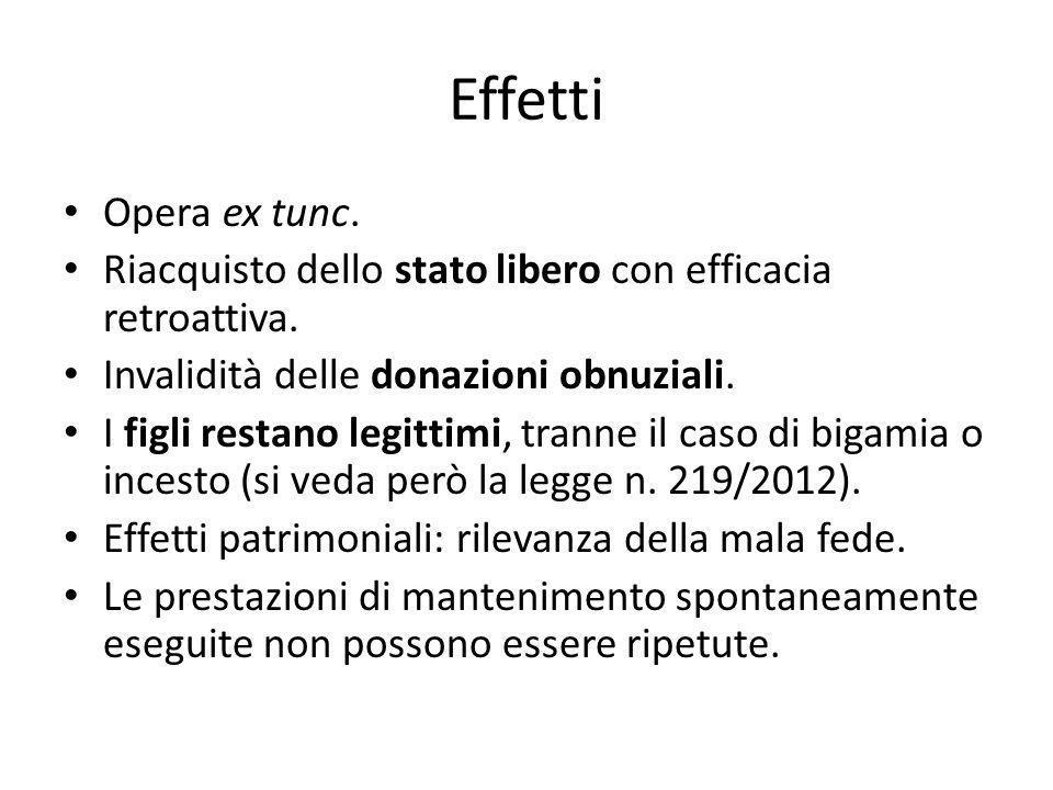 Effetti Opera ex tunc. Riacquisto dello stato libero con efficacia retroattiva. Invalidità delle donazioni obnuziali.