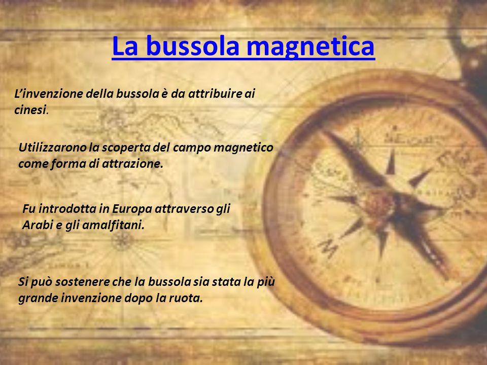 La bussola magnetica L'invenzione della bussola è da attribuire ai cinesi. Utilizzarono la scoperta del campo magnetico come forma di attrazione.