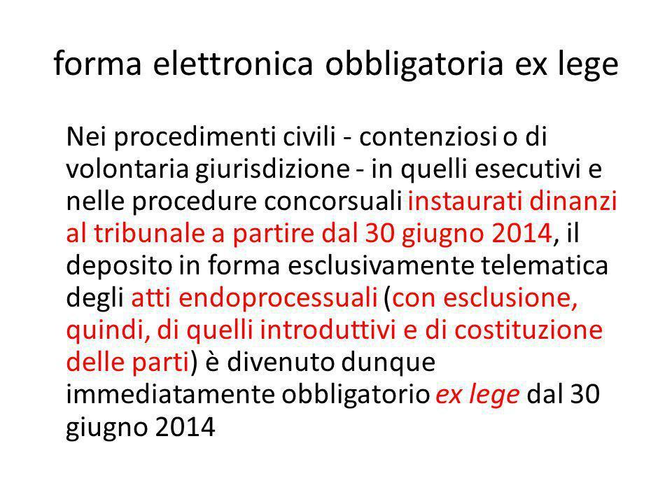 forma elettronica obbligatoria ex lege