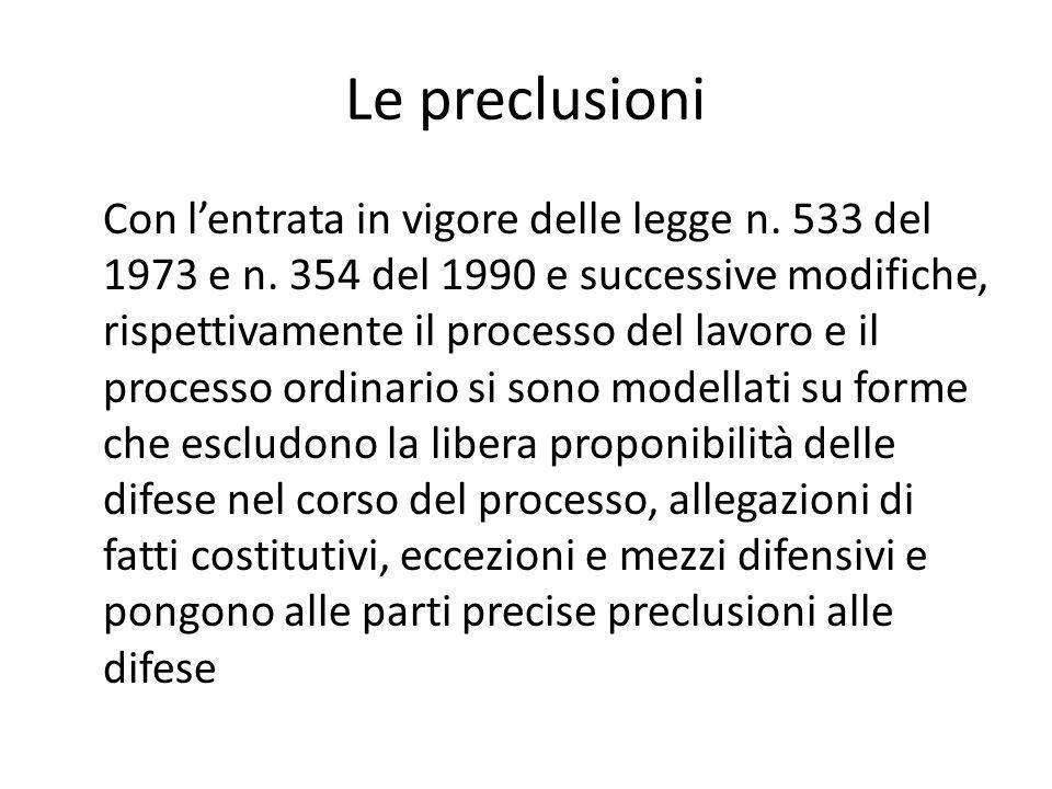 Le preclusioni