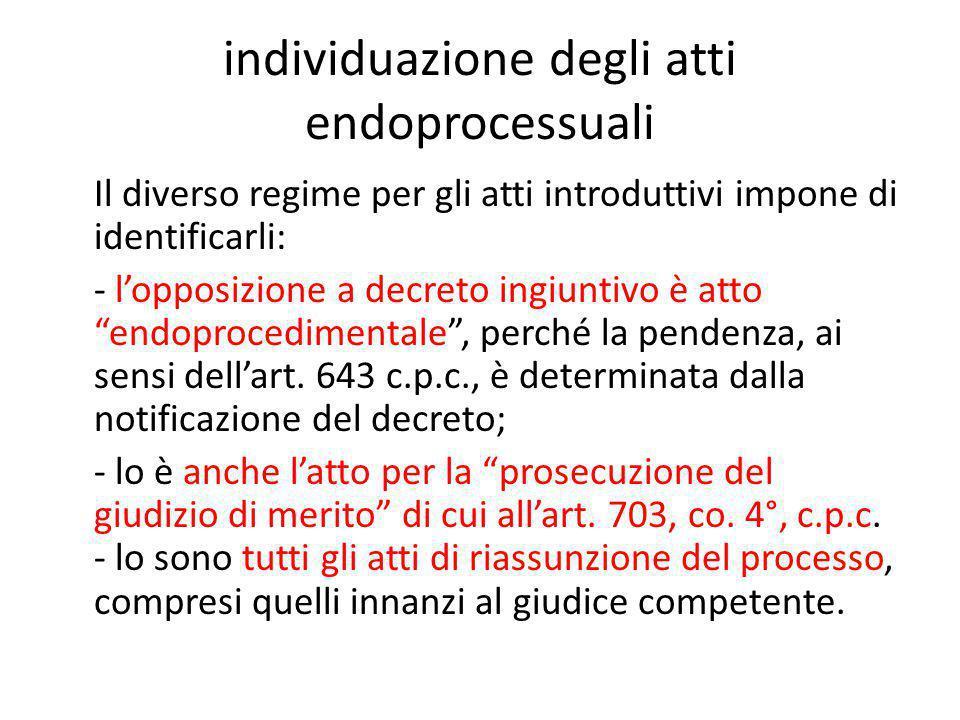 individuazione degli atti endoprocessuali