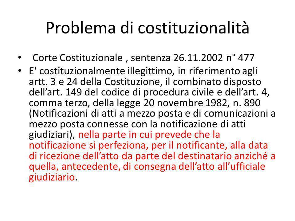 Problema di costituzionalità