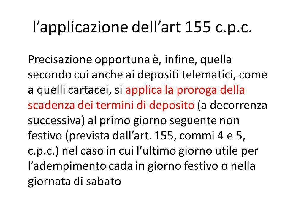 l'applicazione dell'art 155 c.p.c.