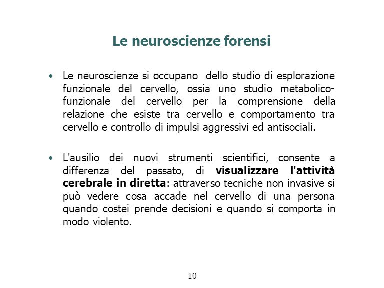 Le neuroscienze forensi