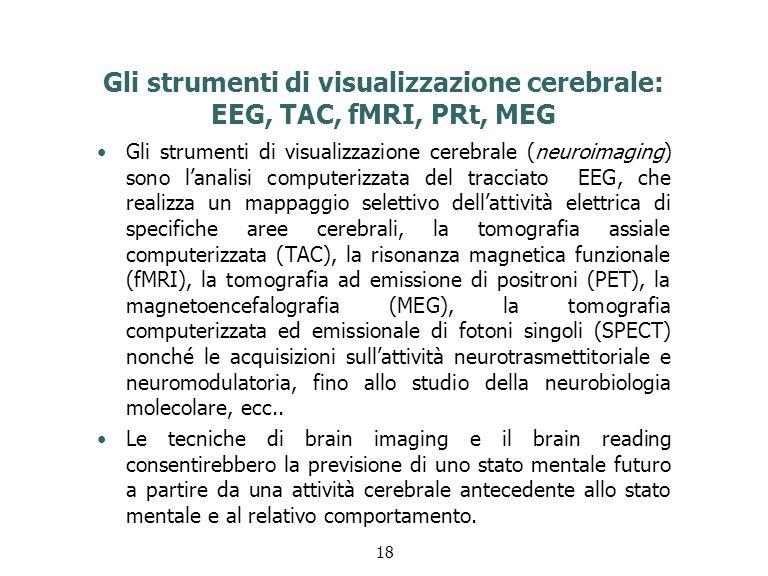 Gli strumenti di visualizzazione cerebrale: EEG, TAC, fMRI, PRt, MEG
