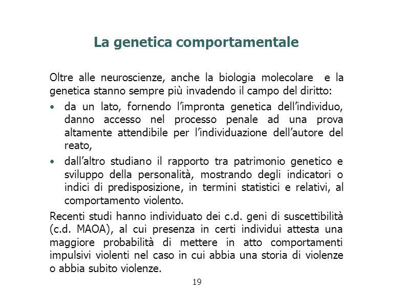 La genetica comportamentale