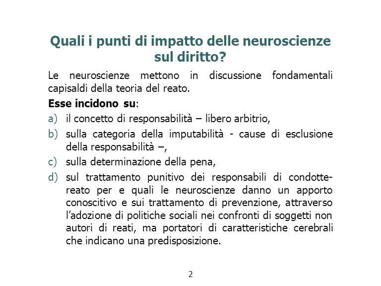 Quali i punti di impatto delle neuroscienze sul diritto