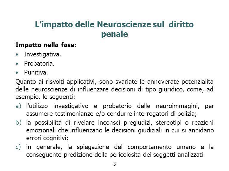 L'impatto delle Neuroscienze sul diritto penale