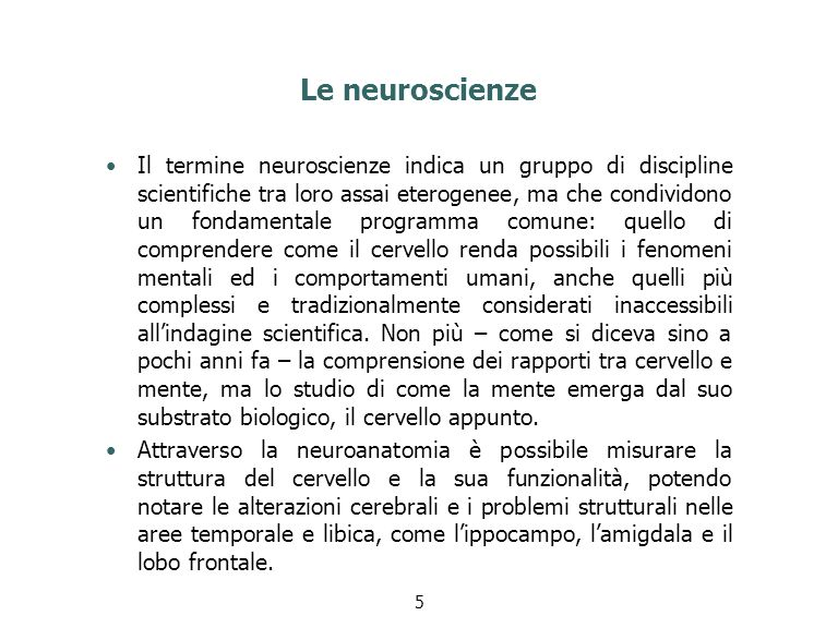 Le neuroscienze