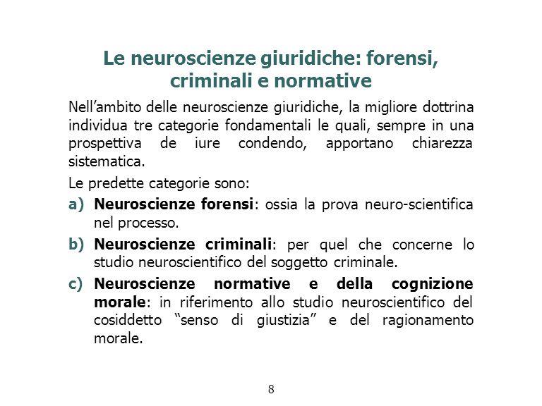 Le neuroscienze giuridiche: forensi, criminali e normative