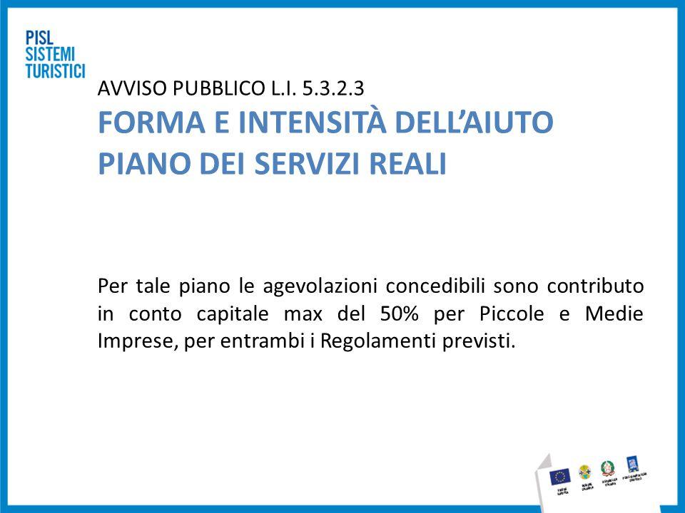 AVVISO PUBBLICO L.I. 5.3.2.3 FORMA E INTENSITÀ DELL'AIUTO PIANO DEI SERVIZI REALI