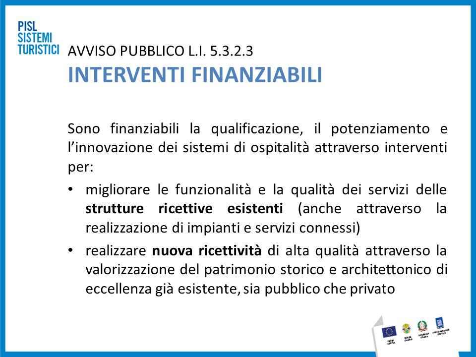 AVVISO PUBBLICO L.I. 5.3.2.3 INTERVENTI FINANZIABILI