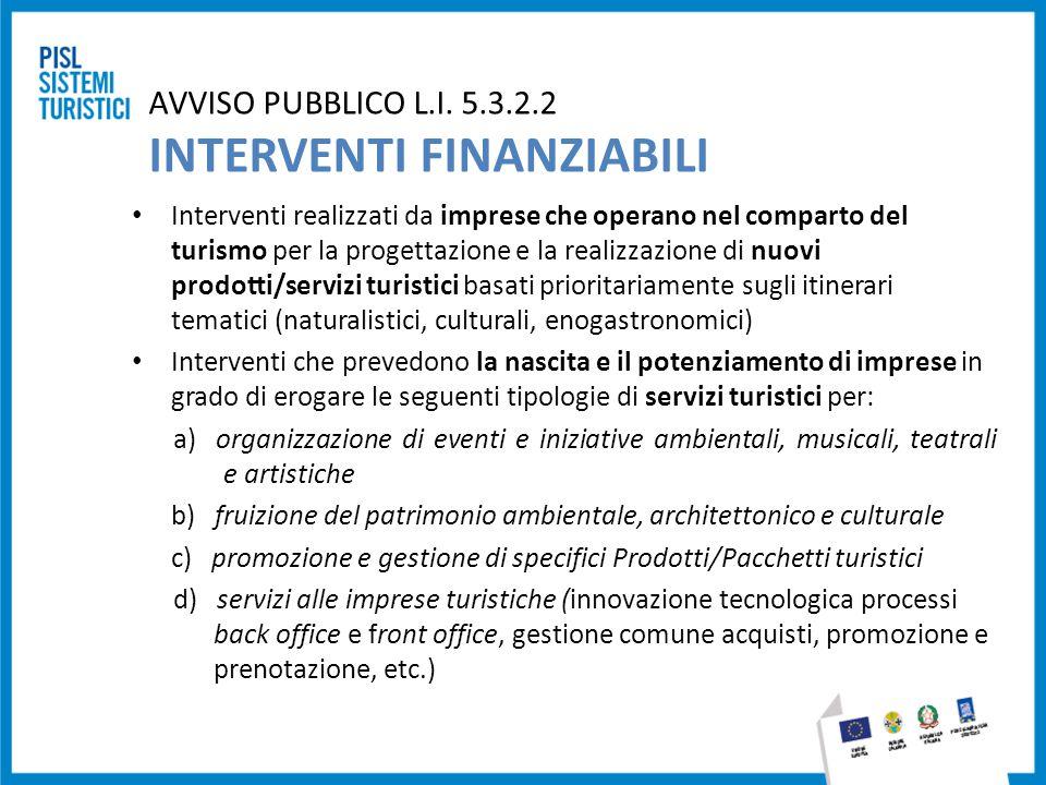 AVVISO PUBBLICO L.I. 5.3.2.2 INTERVENTI FINANZIABILI