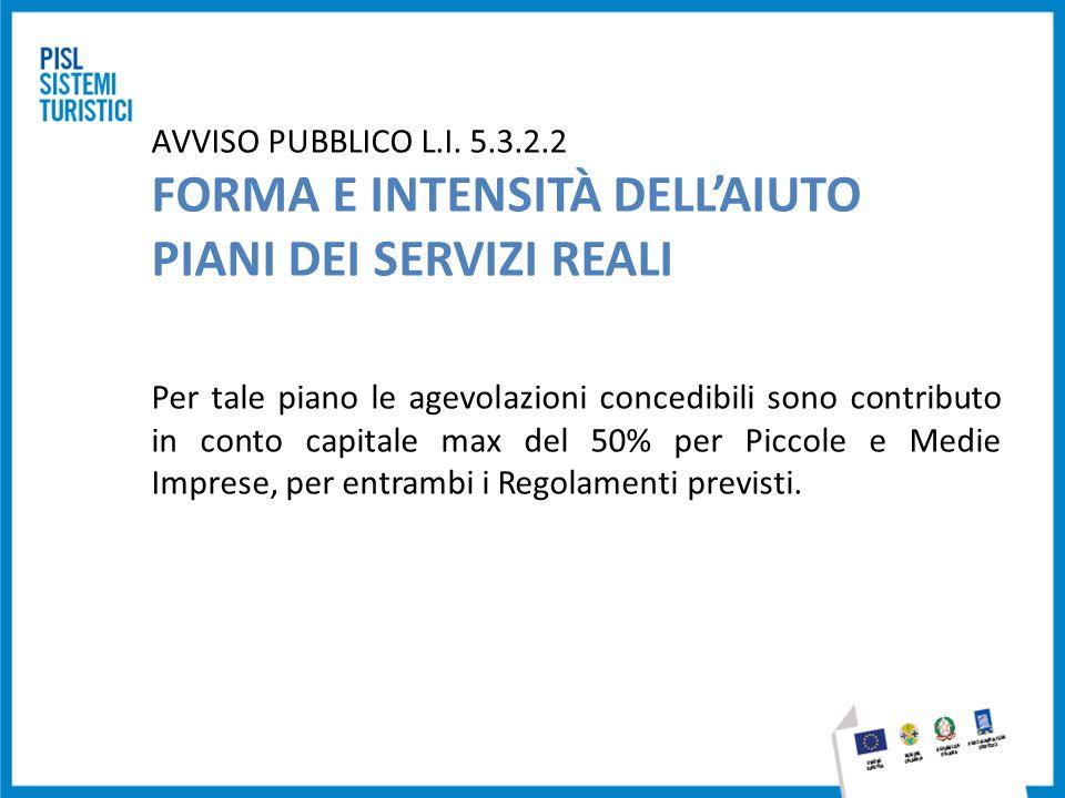 AVVISO PUBBLICO L.I. 5.3.2.2 FORMA E INTENSITÀ DELL'AIUTO PIANI DEI SERVIZI REALI