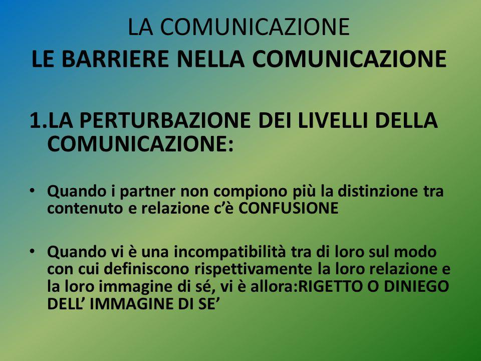 LA COMUNICAZIONE LE BARRIERE NELLA COMUNICAZIONE