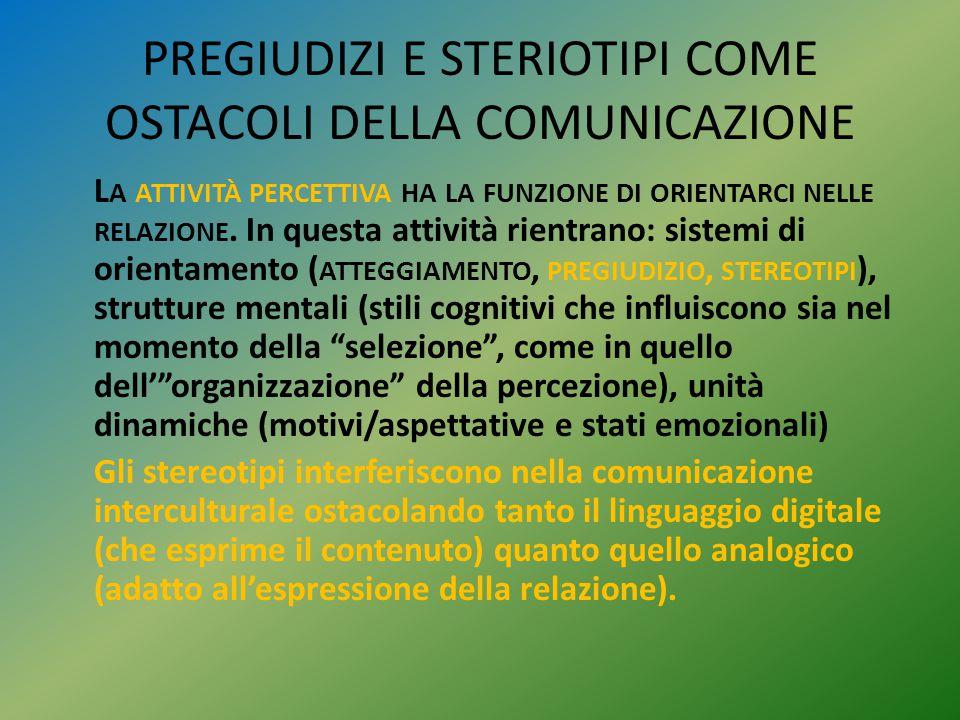 PREGIUDIZI E STERIOTIPI COME OSTACOLI DELLA COMUNICAZIONE