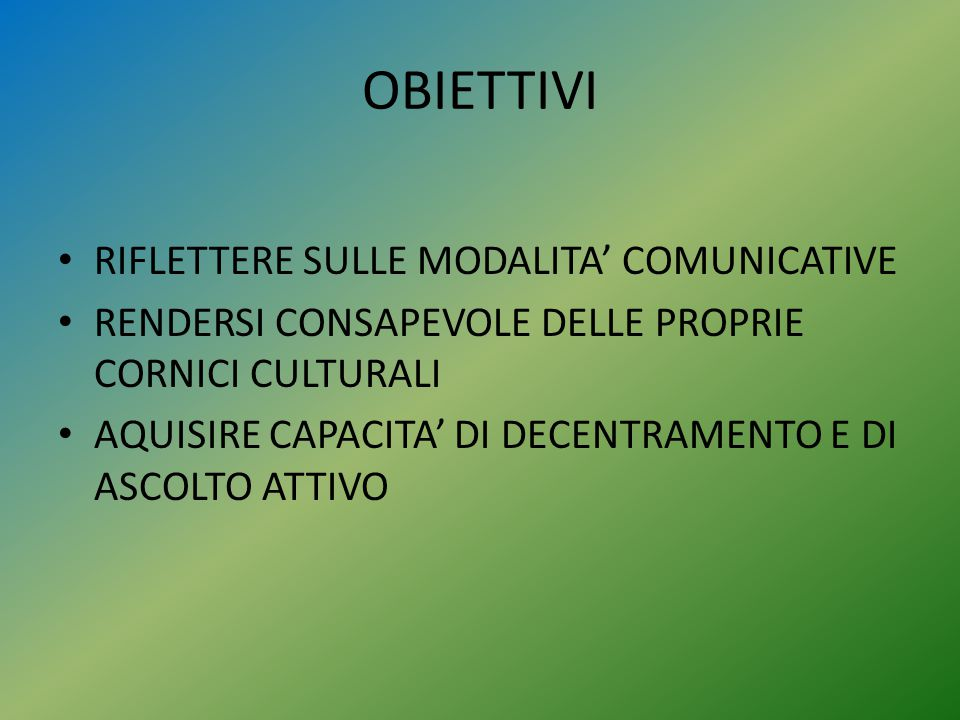 OBIETTIVI RIFLETTERE SULLE MODALITA' COMUNICATIVE