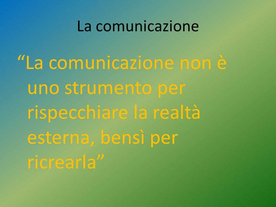 La comunicazione La comunicazione non è uno strumento per rispecchiare la realtà esterna, bensì per ricrearla