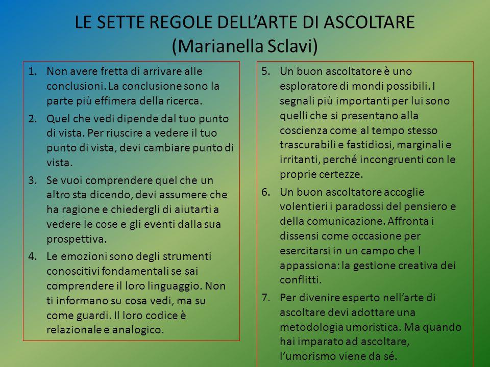 LE SETTE REGOLE DELL'ARTE DI ASCOLTARE (Marianella Sclavi)