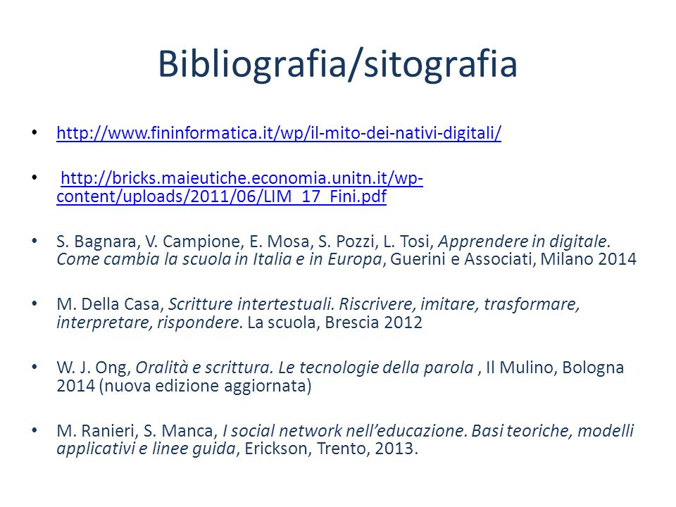 Bibliografia/sitografia